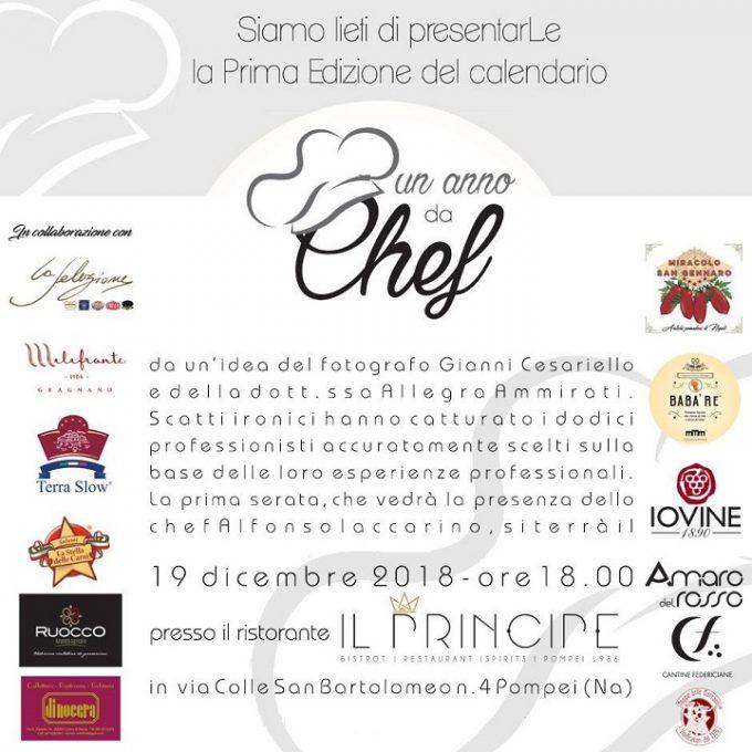 """La 1a edizione del calendario """"Un anno da chef"""" debutta a Pompei"""