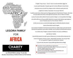 Legora family for Africa - Charity Gala e Dinner. Giovedì 12 dicembre h 20.00, Museo Nazionale Ferro...